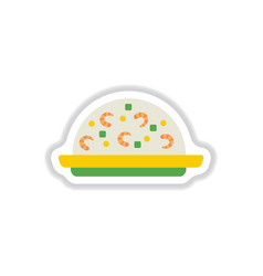 fried rice with shrimp sticker vector image
