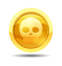 game coin with skull game interface gold vector image