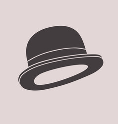 Gentleman vintage bowler hat black and white vector