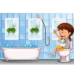 Girl sitting on toilet in bathroom vector image