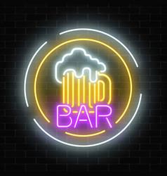 glowing neon beer pub signboard in circle frames vector image