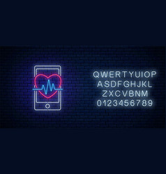 glowing neon sign healthy mobile app with vector image