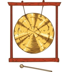 Golden Gong Hanging in a Frame vector image vector image