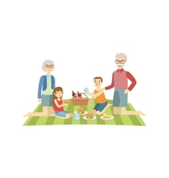 Grandparents With Kids Having Picnic vector