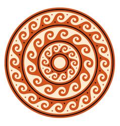 Greek wave mandala ancient round meander vector