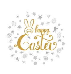 happy easter greeting card happy easter lettering vector image