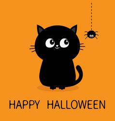 Happy halloween black cat sitting silhouette vector