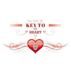 Happy Valentines day borderlocked heart key vector image