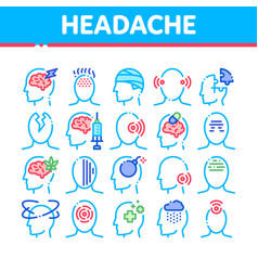 Headache collection elements icons set vector