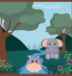 hippo and baby elephant cute animals cartoons vector image