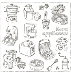 Home appliances themed doodle set Sketches vector image