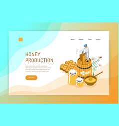 honey production isometric web page vector image