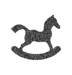 Horse toy sign black icon from many vector