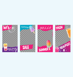 Instagram stories for summer sale party vector
