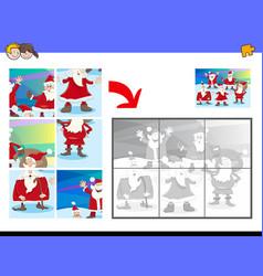 Jigsaw puzzles with santa characters vector