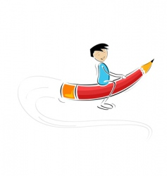 kid flying on pencil vector image