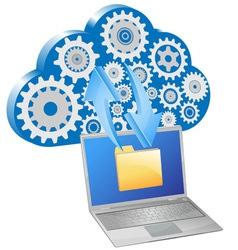 laptop synchronize cloud server vector image
