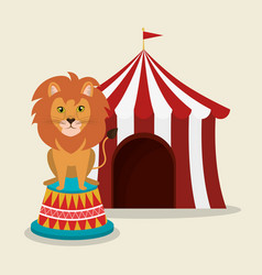 lion circus show icons vector image