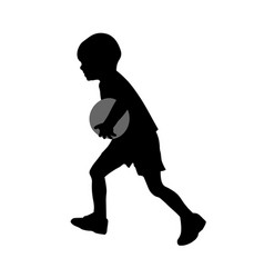 little boy run with ball silhouette vector image