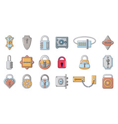 lock icon set cartoon style vector image