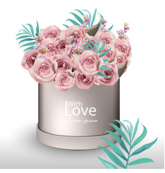 Lovely roses flowers bouquet realistic vector