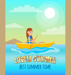 lovely summer best summertime poster kayaking girl vector image