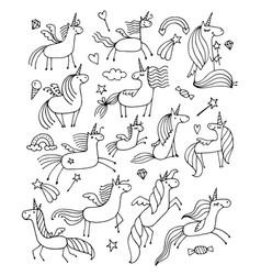 Magic unicorns design for coloring book vector