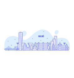 Malmo skyline sweden city buildings linear vector