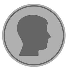 Man head profile silver coin vector