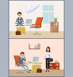 Man relaxing on break businessman boss in office vector