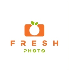 Mandarin orange logo form camera with double vector