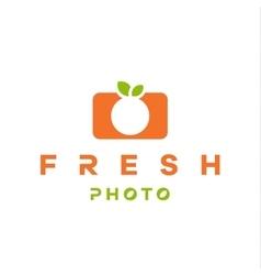 Mandarin orange logo form camera with double vector