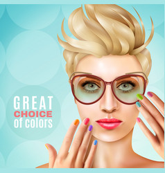 Manicure female model background vector
