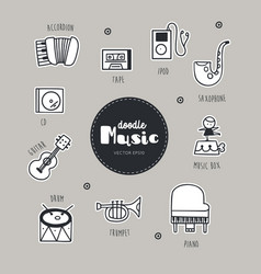 music hand drawn doodle icons set vector image