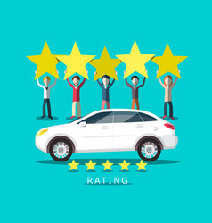 new car rating with people holding five stars vector image