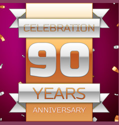 Ninety years anniversary celebration design vector