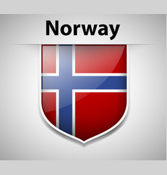 Norway flag on badge design vector