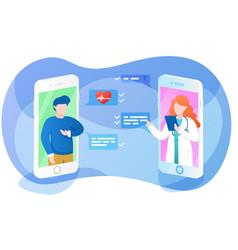 Online doctor app interface sick man asking vector