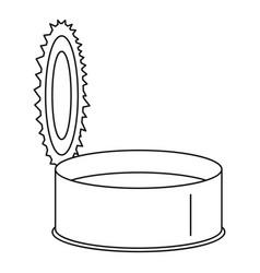 Open silver tin can icon outline style vector