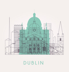 Outline dublin skyline with landmarks vector