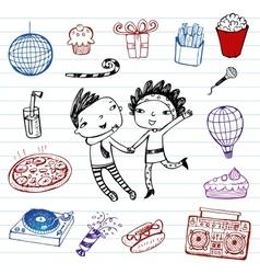 Party - doodle set vector image