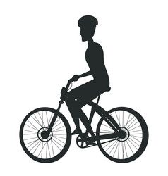 Person riding bike in cap sport biking transport vector