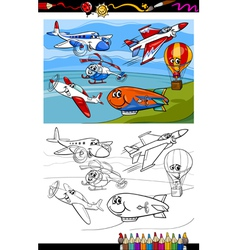 planes and aircraft cartoon coloring book vector image
