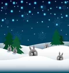 rabbits in the snow and Christmas trees vector image