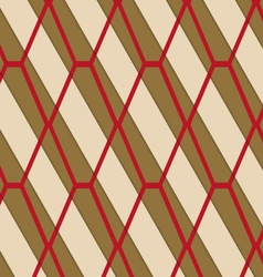 Retro 3D brown and red diamond net vector image