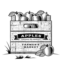 Retro crate apples black and white vector