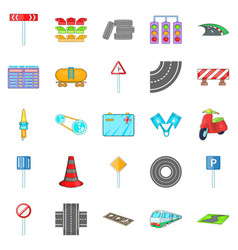 Road surface icons set cartoon style vector