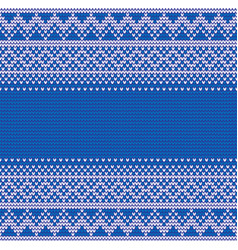 seamless blue knitting background vector image