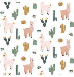 Seamless pattern with cute alpacas and cacti vector