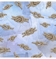 Seamless template with white ropes and marine vector image
